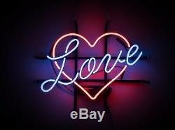 17x14 Real Neon Light Sign Vintage LOVE 24 hours Heart Lighting Art Valentines