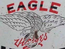 1920s EAGLE MOTOR OIL GAS VINTAGE 2SIDED FLANGE GARAGE OLD PORCELAIN ENAMEL SIGN