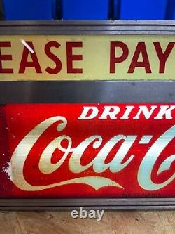 1940's Vintage Glass front Coca-Cola Please Pay Cashier Electric Sign working