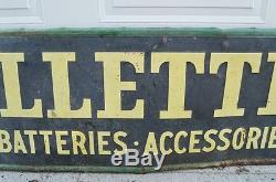 1949 Original Vintage Metal Gillette Tires Gas Oil Sign Advertising Garage