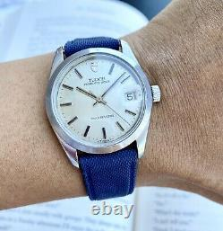 1968 Vintage Tudor Prince Oysterdate Watch 34mm All Steel Rolex Signed SERVICED