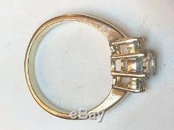 1.25estate Vintage 14k Yellow Gold Aquamarine Diamond Ring Designer Signed Hb