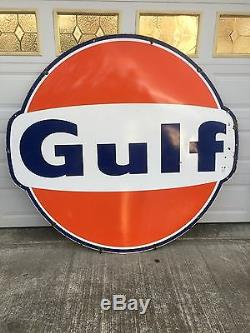2 Vintage 6 Foot Porcelain Gulf Gas Station Signs