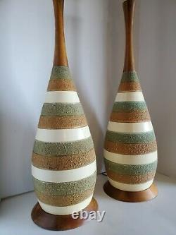 2 Vtg Mid Century Modern Signed Quartite & Teak Table Lamps 1962