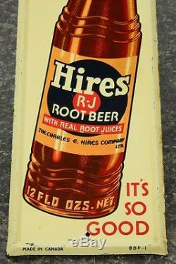 30s vintage Hires Root Beer advertising tin litho soda pop sign door push NICE