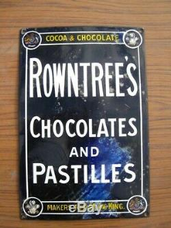 38275 Old Antique Vintage Enamel Sign Shop Advert Rowntree Cocoa Tin Can Box