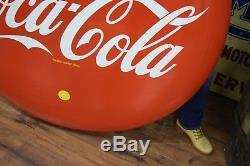 48 Porcelain Coca Cola Button Coke Sign Vtg Soda Pop Advertising RARE CLEAN