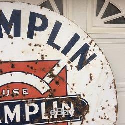 6 FOOT SIGN GAS OIL RARE 1950s VINTAGE ORIGINAL CHAMPLIN PORCELAIN 2 SIDED OLD