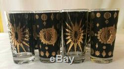 8 Vintage MCM Signed Fred Press Atomic Starburst Highball Glasses with Caddy