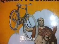 ANTIQUE BICYCLE STORE GARAGE VINTAGE PORCELAIN ENAMEL SIGN 1930s HERCULES CYCLES