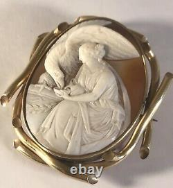 Amazing Antique Gold Shell Cameo Brooch Of Greek Goddess Hebe Signed Carnesecchi