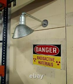 Angled Galvanized Shade Sign Light Fixture VTG Barn Style Gas Station Wall Mount