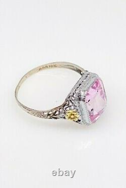 Antique 1920s A & S Signed 4ct Pink Sapphire 10k Yellow White Gold Filigree Ring