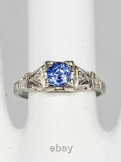 Antique 1920s Signed WOOD 1ct Ceylon Blue Sapphire Diamond 18k White Gold Ring
