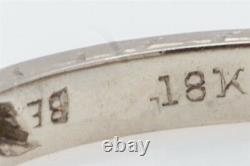 Antique 1925 Signed BELAIS Orange Blossom Diamond 18k White Gold Band Ring