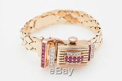 Antique 1940 Signed Rachel 3ct Ruby Diamond 14k Rose Gold RETRO Ladies Watch 50g