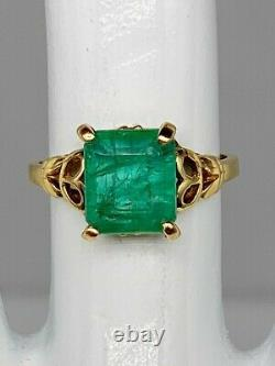 Antique 1940s $4000 Signed CROSBY 4ct Colombian Emerald 10k Yellow Gold Ring