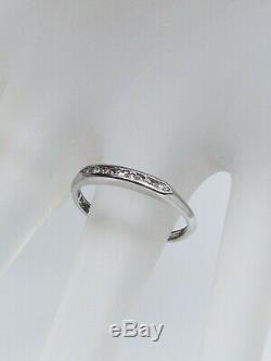 Antique 1940s Signed W 1940s. 20ct VS G Diamond Platinum Wedding Band Ring