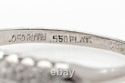 Antique 1942 Signed. 50ct VS G Diamond DOUBLE ROW Platinum Wedding Band Ring