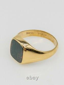 Antique Edwardian 1900s Signed HQ & S Bloodstone 9k Yellow Gold Mens Ring Band