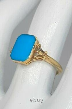 Antique Edwardian Signed 1900s 5ct Natural Turquoise 10k Yellow Gold Ring