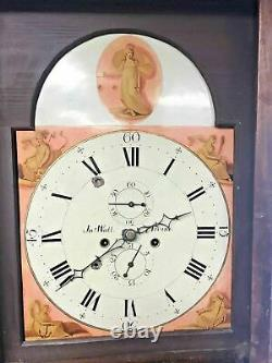 Antique English Tall Case Inlay Grandfather Clock W Painted Face Signed Irvine