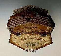 Antique Primitive Wooden Hobo Cigar Tramp Folk Art Trinket Box, 10-1/2L, c. 1920