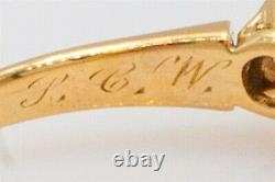 Antique Signed 1897 1.15ct Natural OPAL Mine Cut Diamond 14k Yellow Gold Ring