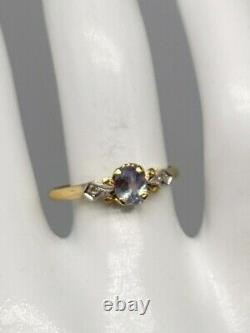 Antique Signed 1940 $3400.75ct Natural Alexandrite Diamond 10k Yellow Gold Ring