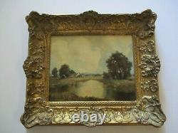 Antique Small Gem Impressionist Painting Landscape Vintage Country Home Signed