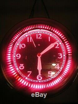 Antique Spinner Neon Diner Clock, Vintage
