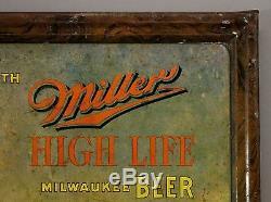 Antique Tin Chromolithograph Sign, Miller Beer, Fishing, Pipe Smoking, NR