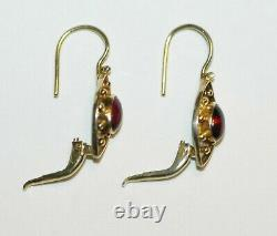 Antique Victorian Etruscan Revival Signed Ruby Red Cabochon Gemstone Earrings