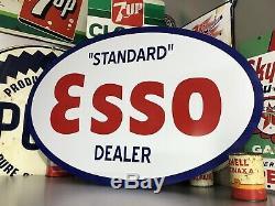 Antique Vintage Old Style Standard Esso Oval Dealer Sign