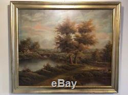 Antique Vintage gilt framed original signed Oil Painting