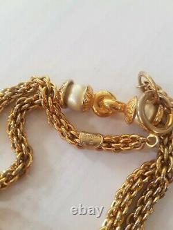 Authentic Vintage Chanel Haute Couture Faux Pearl Gold Tone Long Necklace SIGNED