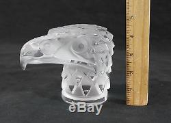 Authentic Vintage Signed Lalique France Art Glass Eagle Head Paperweight, NR