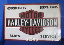 Awesome Vintage 1940-50's Harley Davidson Sales Service Porcelain Sign