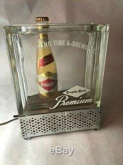 Awesome Vintage Grain Belt Premium Beer Adv Glass Terrarium Lighted Sign, Works