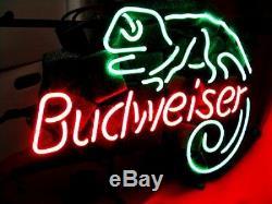 BUD WEISER Man Cave Beer Bar Vintage NEON LIGHT SIGN LIZARD Window Wall Room