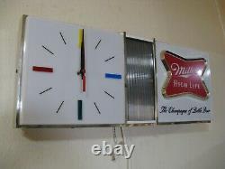 Best Vtg 1967 Miller High Life Beer Disco Motion Bar Clock Pub Light Sign A+