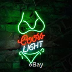 Bikini COORS Light Vintage Artwork NEON Sign Beer Drink Bar Room Wall Decor