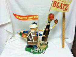 Blatz beer sign 1950'S safe at home baseball statue vintage bottle can keg guys