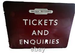 British railways vintage tickets and enquiries sign