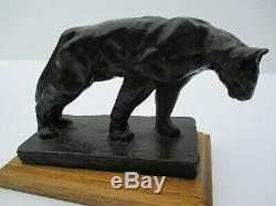 Bronze Metal Sculpture Cat Feline Wildlife Puma Panther Vintage Signed Statue