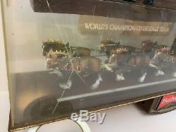 Budweiser Beer Champion Clydesdale Horse Team Bar Light Sign Clock Vintage