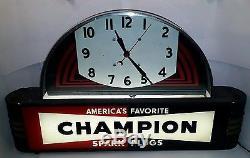 CHAMPION SPARK PLUGS clock art deco lighted vintage non porcelain sign rare nice