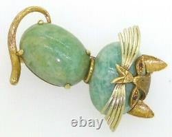 Cartier vintage rare 18K YG ruby and Amazonite cat pin signed and numbered