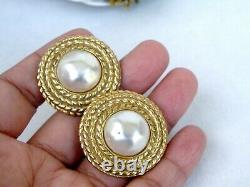 Chanel Vintage Earrings Beads and Strings Decor signed