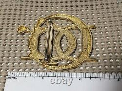 Christian Dior Parfums Signed Pin Brooch Vintage Gold Script Logo RARE 90s